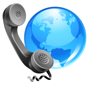 Drawing of a telephone handset next to a globe.